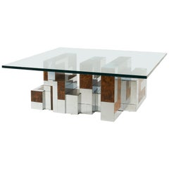 Paul Evans Cityscape Coffee Table, Burl Wood and Chrome