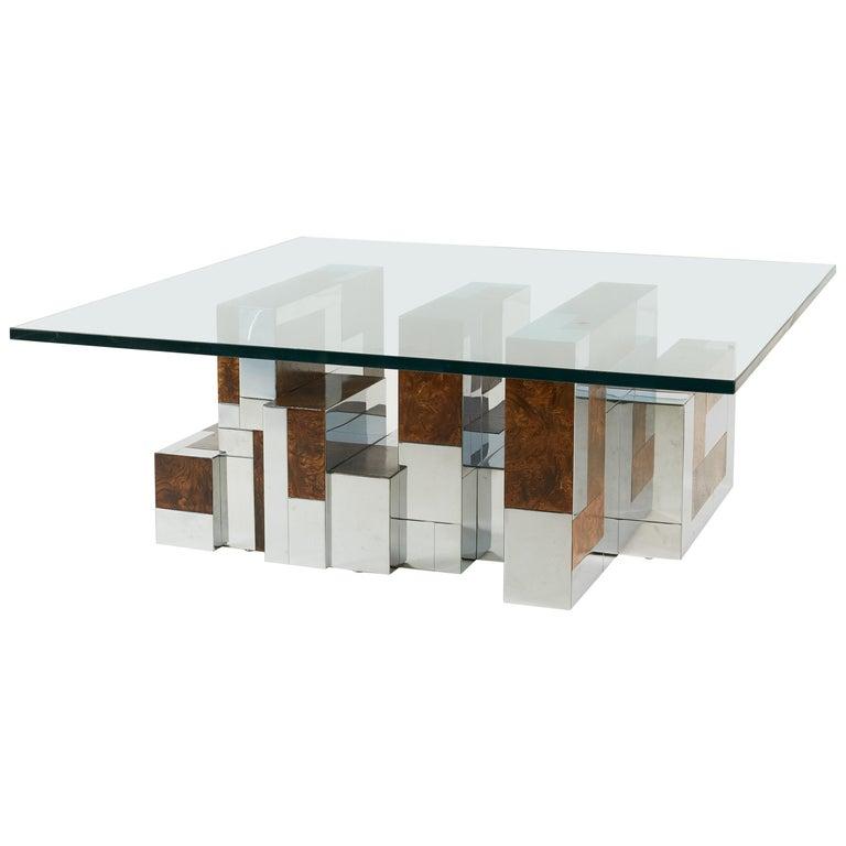 Wood And Chrome Pierceson Coffee Table: Paul Evans Cityscape Coffee Table, Burl Wood And Chrome