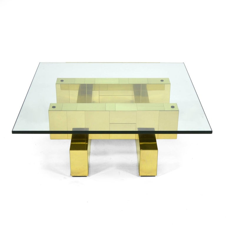 Hollywood Regency Paul Evans Cityscape Coffee Table by Directional For Sale
