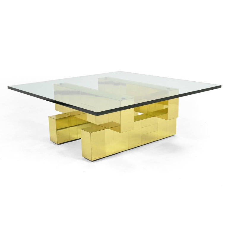Brass Paul Evans Cityscape Coffee Table by Directional For Sale