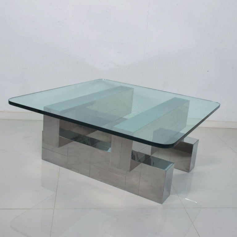 For your consideration: Paul Evans cityscape coffee table base in chromed stainless steel, Mid-Century Modern geometric patchwork design.  No signature present.  Dimensions: 30