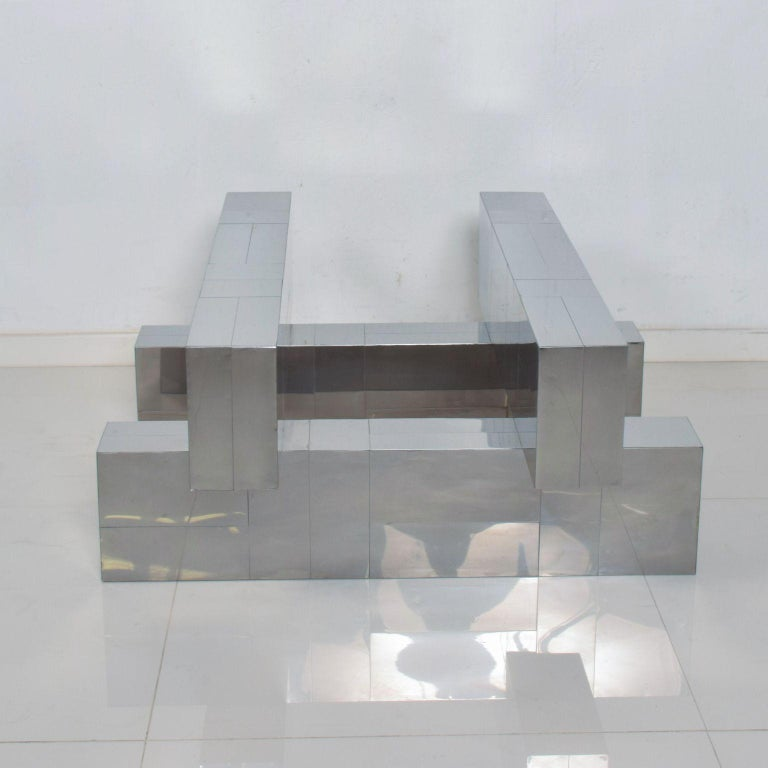 Mid-Century Modern Paul Evans Cityscape Coffee Table Geometric Patchwork Base Stainless Steel 1970s For Sale