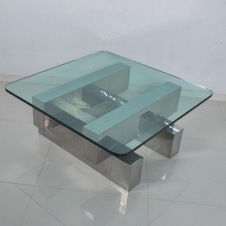 American Paul Evans Cityscape Coffee Table Geometric Patchwork Base Stainless Steel 1970s For Sale