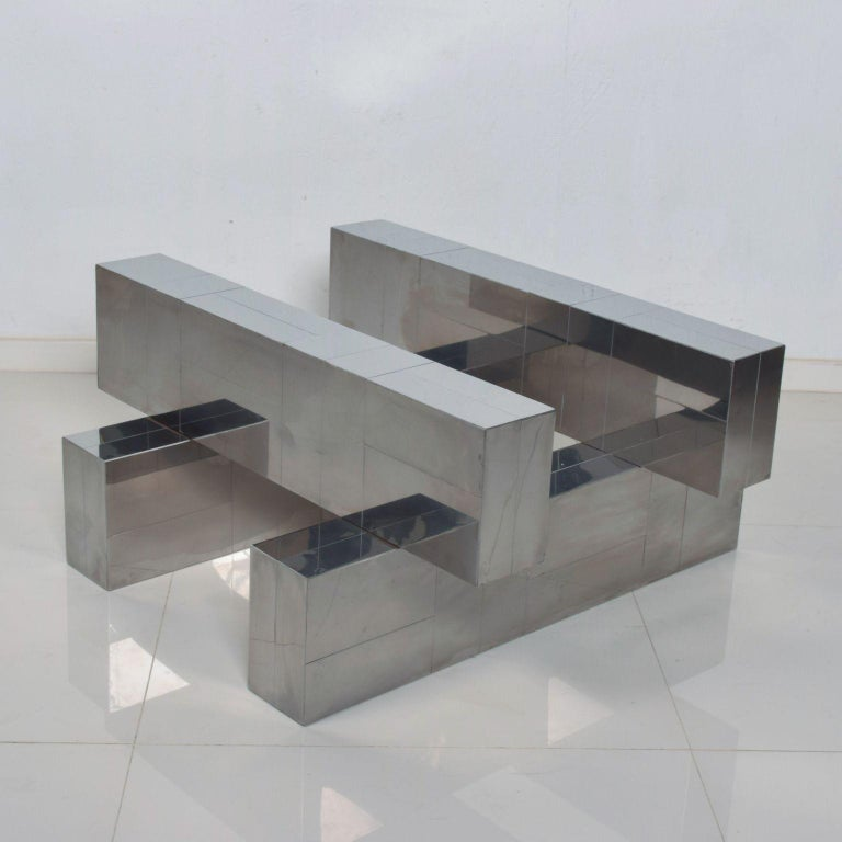 Paul Evans Cityscape Coffee Table Geometric Patchwork Base Stainless Steel 1970s In Good Condition For Sale In National City, CA
