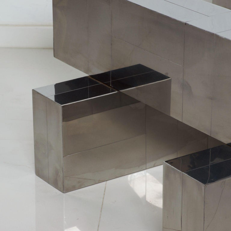 Late 20th Century Paul Evans Cityscape Coffee Table Geometric Patchwork Base Stainless Steel 1970s For Sale