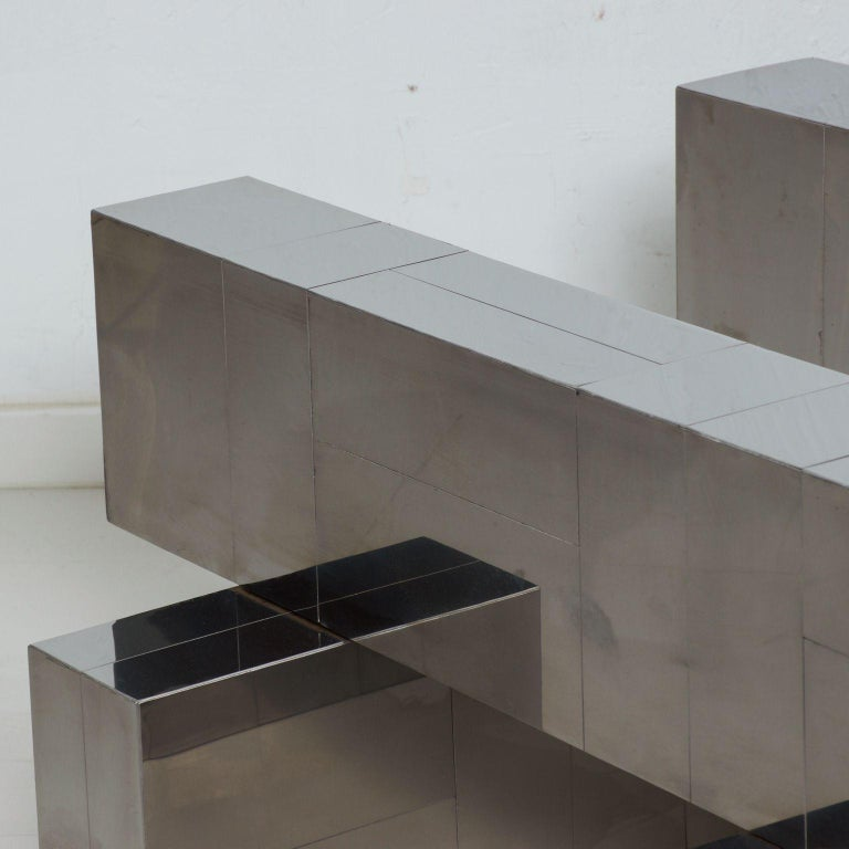 Paul Evans Cityscape Coffee Table Geometric Patchwork Base Stainless Steel 1970s For Sale 2