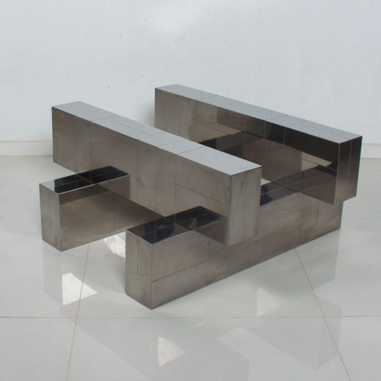 Paul Evans Cityscape Coffee Table Geometric Patchwork Base Stainless Steel 1970s For Sale 3
