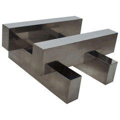 Paul Evans Cityscape Coffee Table Geometric Patchwork Base Chromed Steel 1970s