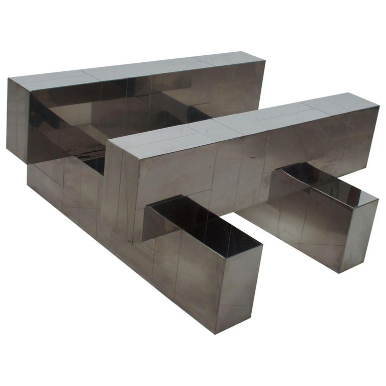 Paul Evans Cityscape Coffee Table Geometric Patchwork Base Stainless Steel 1970s For Sale