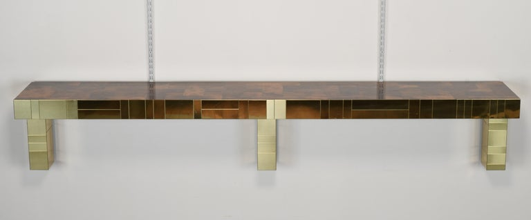 Late 20th Century Paul Evans Cityscape Console Table for Directional, USA, 1980s For Sale