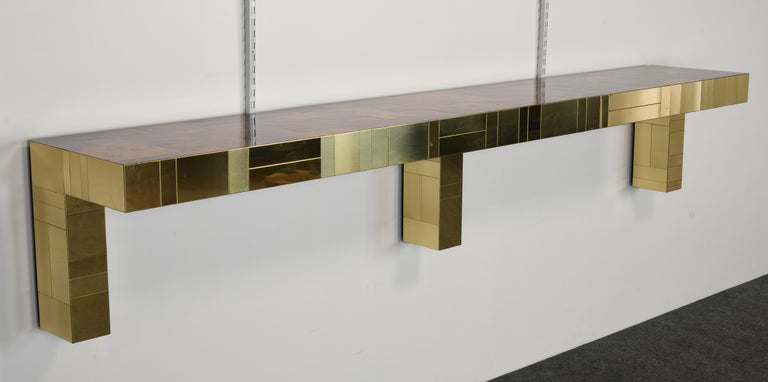Brass Paul Evans Cityscape Console Table for Directional, USA, 1980s For Sale