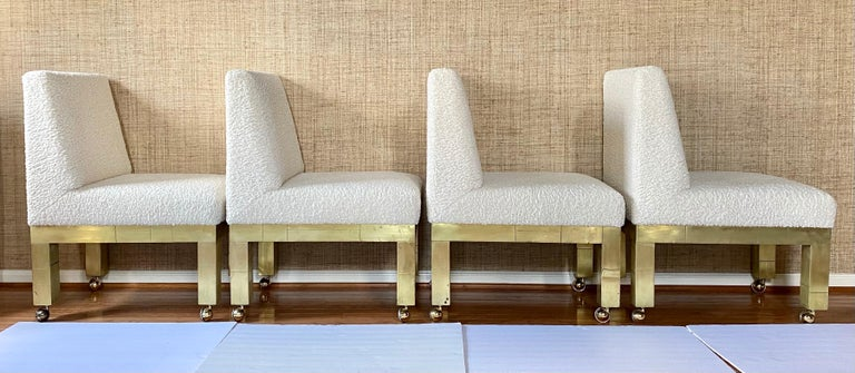 Paul Evans Cityscape Cubist Dining Chairs Mid-Century Modern Boucle Fabric 1970s In Good Condition For Sale In Lambertville, NJ