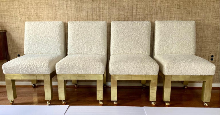 Metal Paul Evans Cityscape Cubist Dining Chairs Mid-Century Modern Boucle Fabric 1970s For Sale