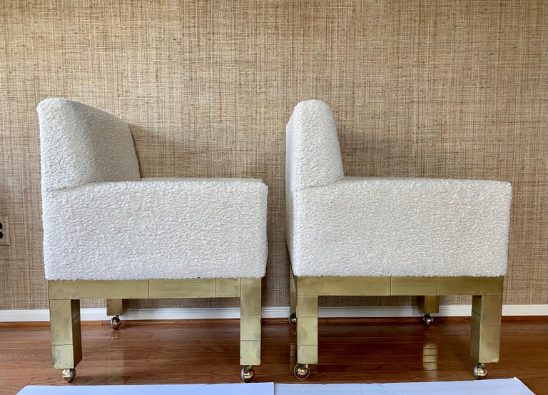 Paul Evans Cityscape Cubist Dining Chairs Mid-Century Modern Boucle Fabric 1970s For Sale 1