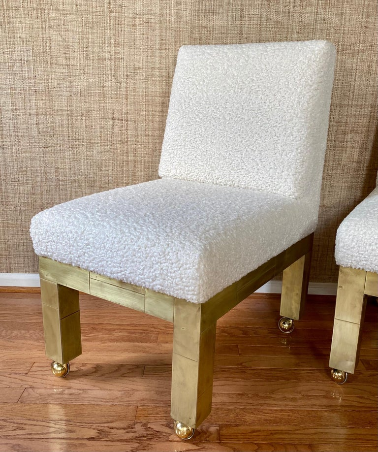 Paul Evans Cityscape Cubist Dining Chairs Mid-Century Modern Boucle Fabric 1970s For Sale 2