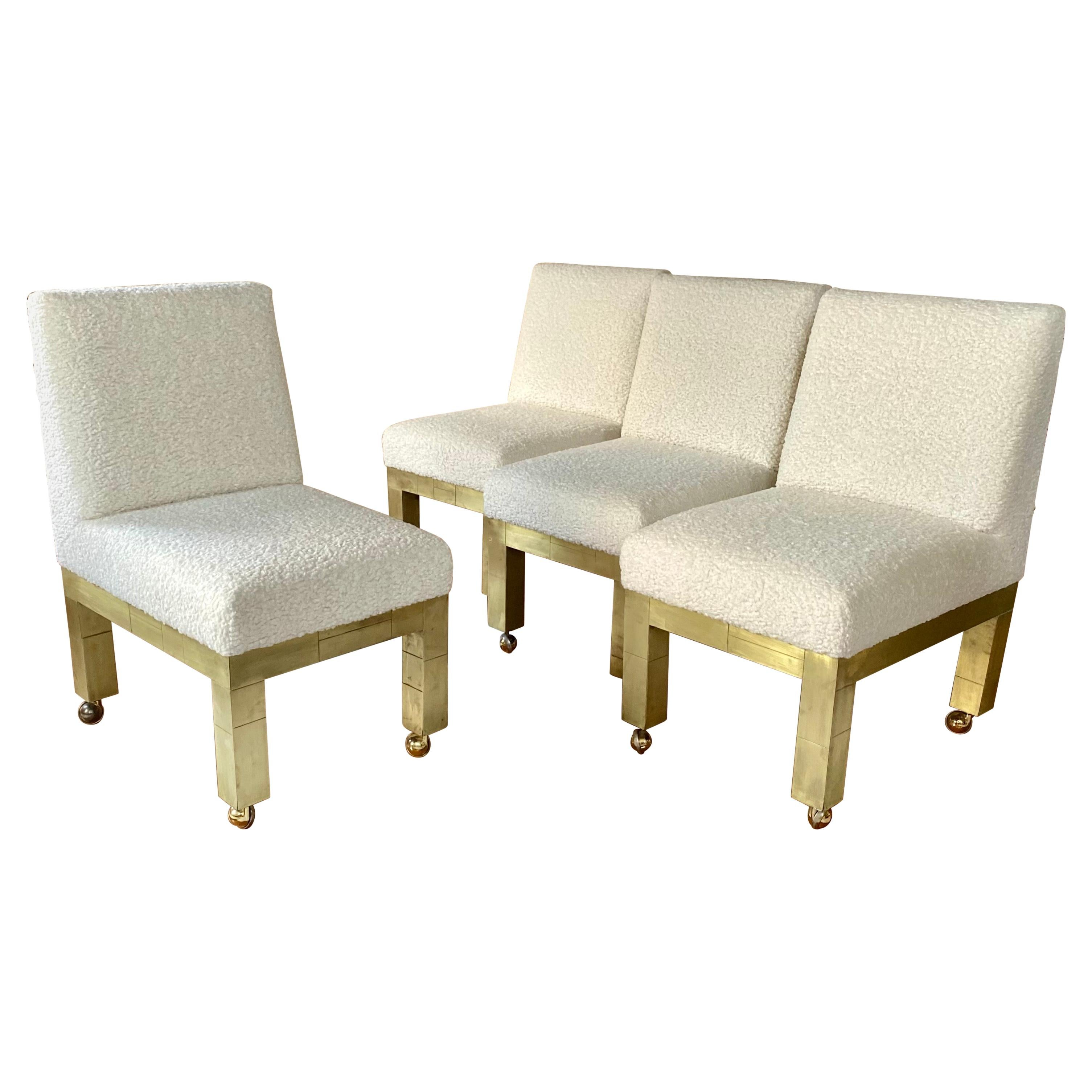 Paul Evans Cityscape Cubist Dining Chairs Mid-Century Modern Boucle Fabric 1970s