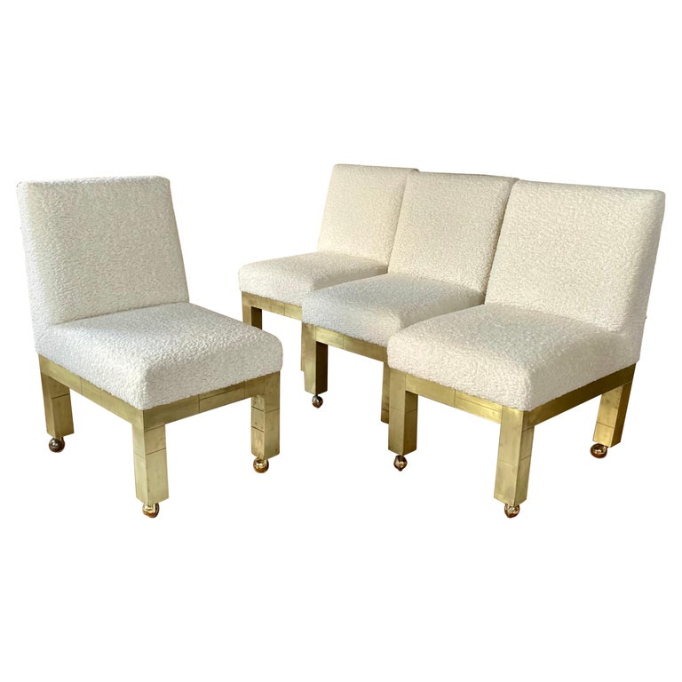 Paul Evans Cityscape Cubist Dining Chairs Mid-Century Modern Boucle Fabric 1970s For Sale