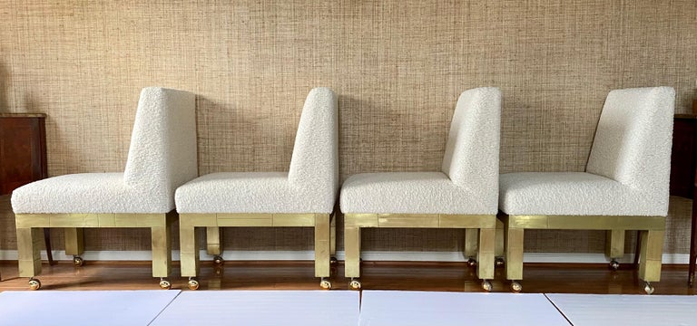 Paul Evans Cityscape Cubist Dining Chairs Mid-Century Modern Boucle Fabric 1970s For Sale 5