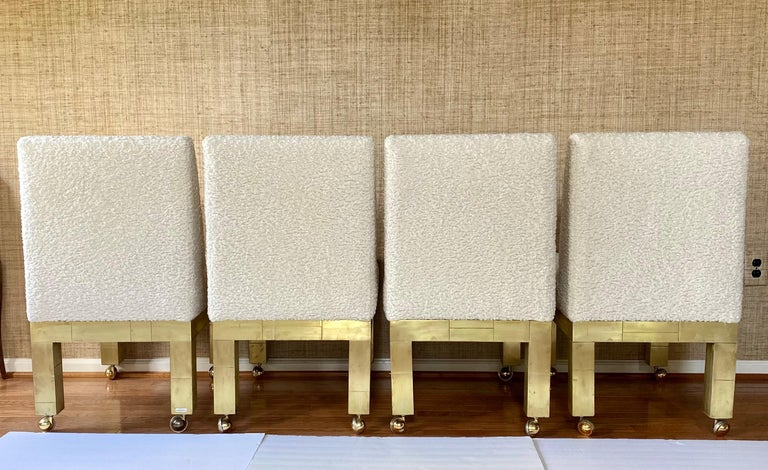 Paul Evans Cityscape Cubist Dining Chairs Mid-Century Modern Boucle Fabric 1970s For Sale 7