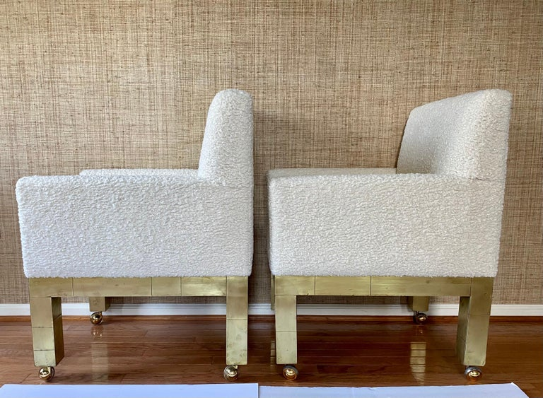 Late 20th Century Paul Evans Cityscape Cubist Dining Chairs Mid-Century Modern Boucle Fabric 1970s For Sale