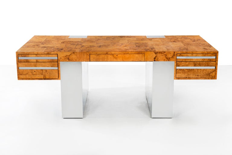 Evans for Cityscape, chrome and wood desk, features 5 drawers with burl wood and chrome-plated steel fragments of patchwork applied.