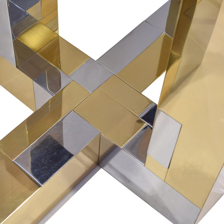Paul Evans Cityscape Dining Table in Tessellated Chrome and Brass, 1970s In Good Condition For Sale In New York, NY