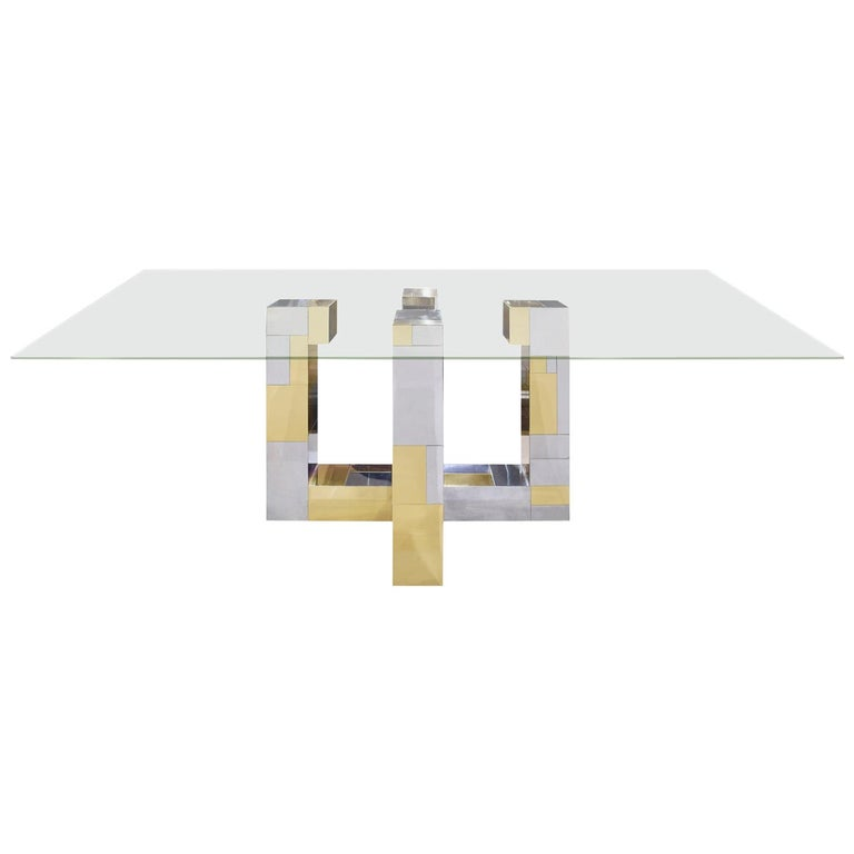 Paul Evans Cityscape Dining Table in Tessellated Chrome and Brass, 1970s For Sale