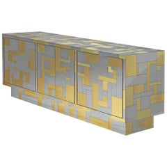 """Paul Evans """"Cityscape II"""" Sideboard in Chrome and Brass, 1975"""