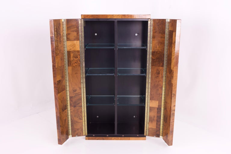 Mid-Century Modern Paul Evans Midcentury Burl Wood Floating Display Cabinet For Sale