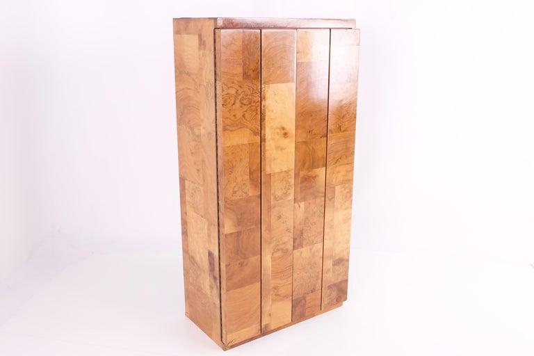 American Paul Evans Midcentury Burl Wood Floating Display Cabinet For Sale
