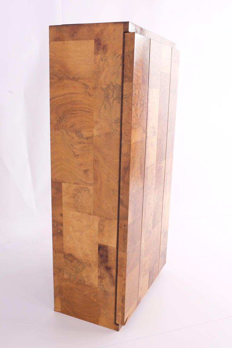 Late 20th Century Paul Evans Midcentury Burl Wood Floating Display Cabinet For Sale