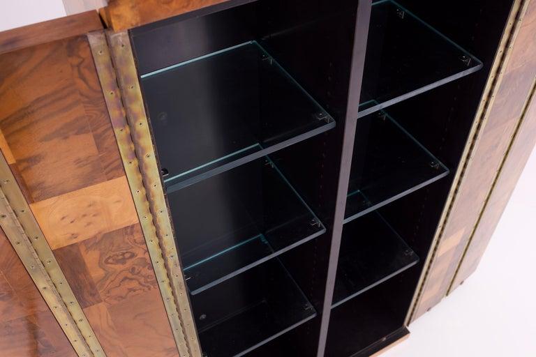 Paul Evans Midcentury Burl Wood Floating Display Cabinet For Sale 1