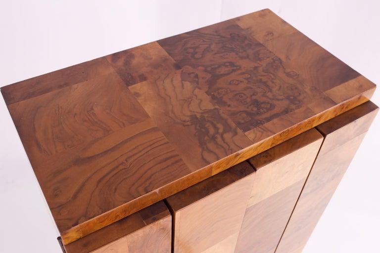 Paul Evans Midcentury Burl Wood Floating Display Cabinet For Sale 2