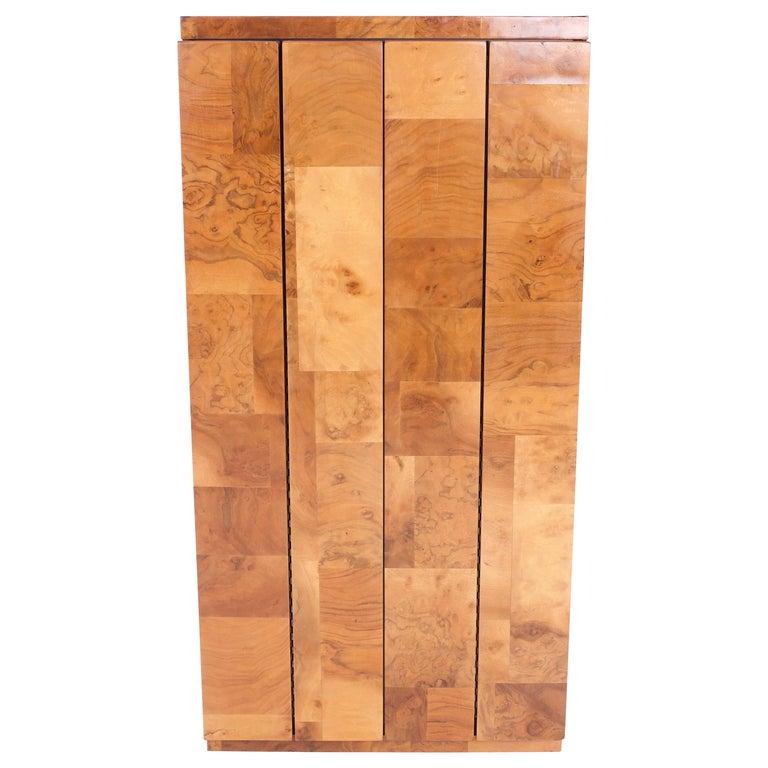 Paul Evans Midcentury Burl Wood Floating Display Cabinet For Sale