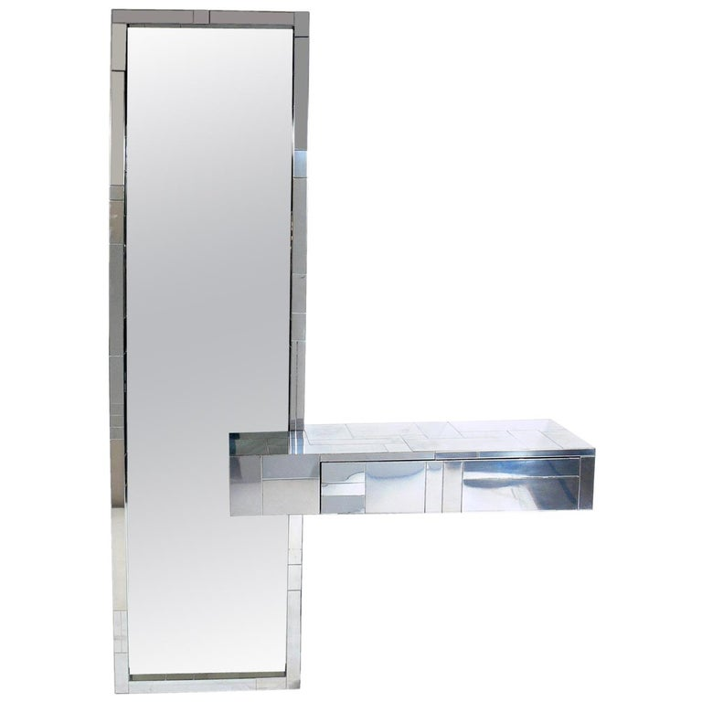 Paul Evans Cityscape Mirror and Floating Console Table For Sale