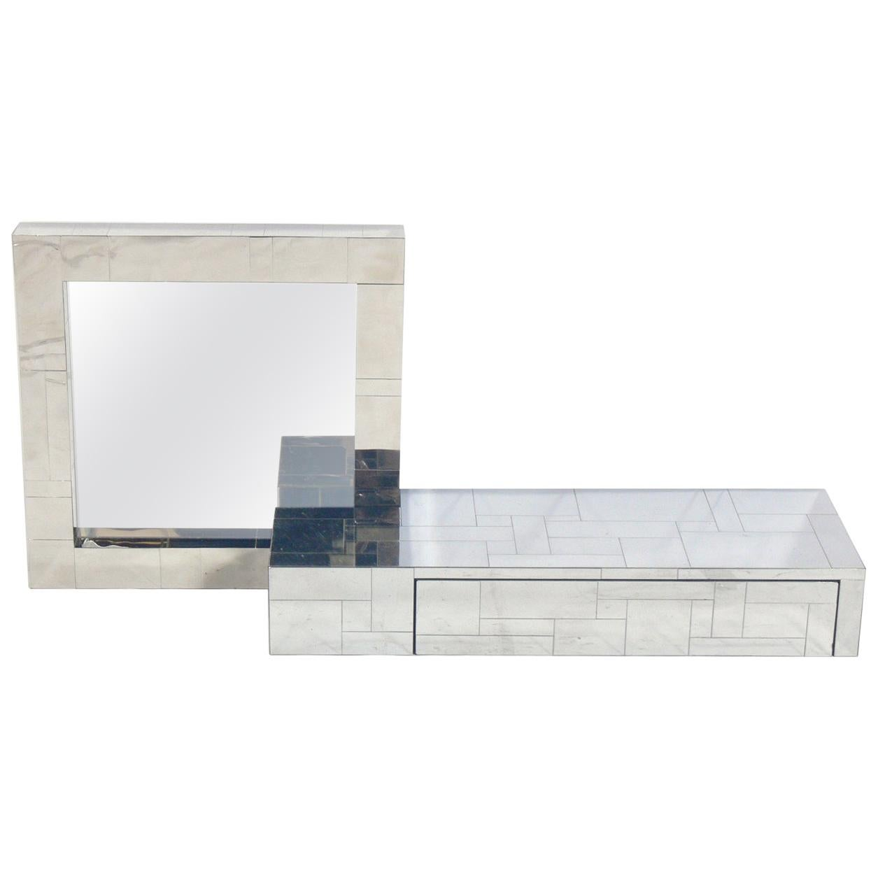 Paul Evans Cityscape Mirror and Floating Console Table