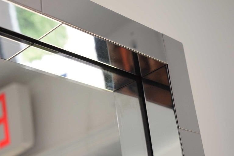 American Paul Evans Cityscape Mirror in Chrome, Signed For Sale