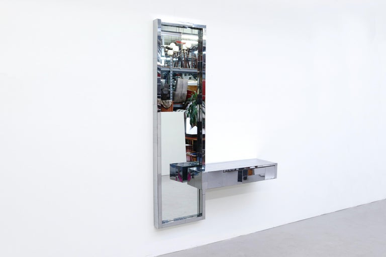 Mid-Century Modern Paul Evans Cityscape Mirror with Floating Console for Directional For Sale