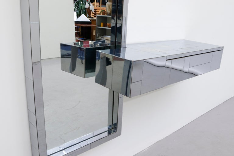 Paul Evans Cityscape Mirror with Floating Console for Directional In Good Condition For Sale In Los Angeles, CA