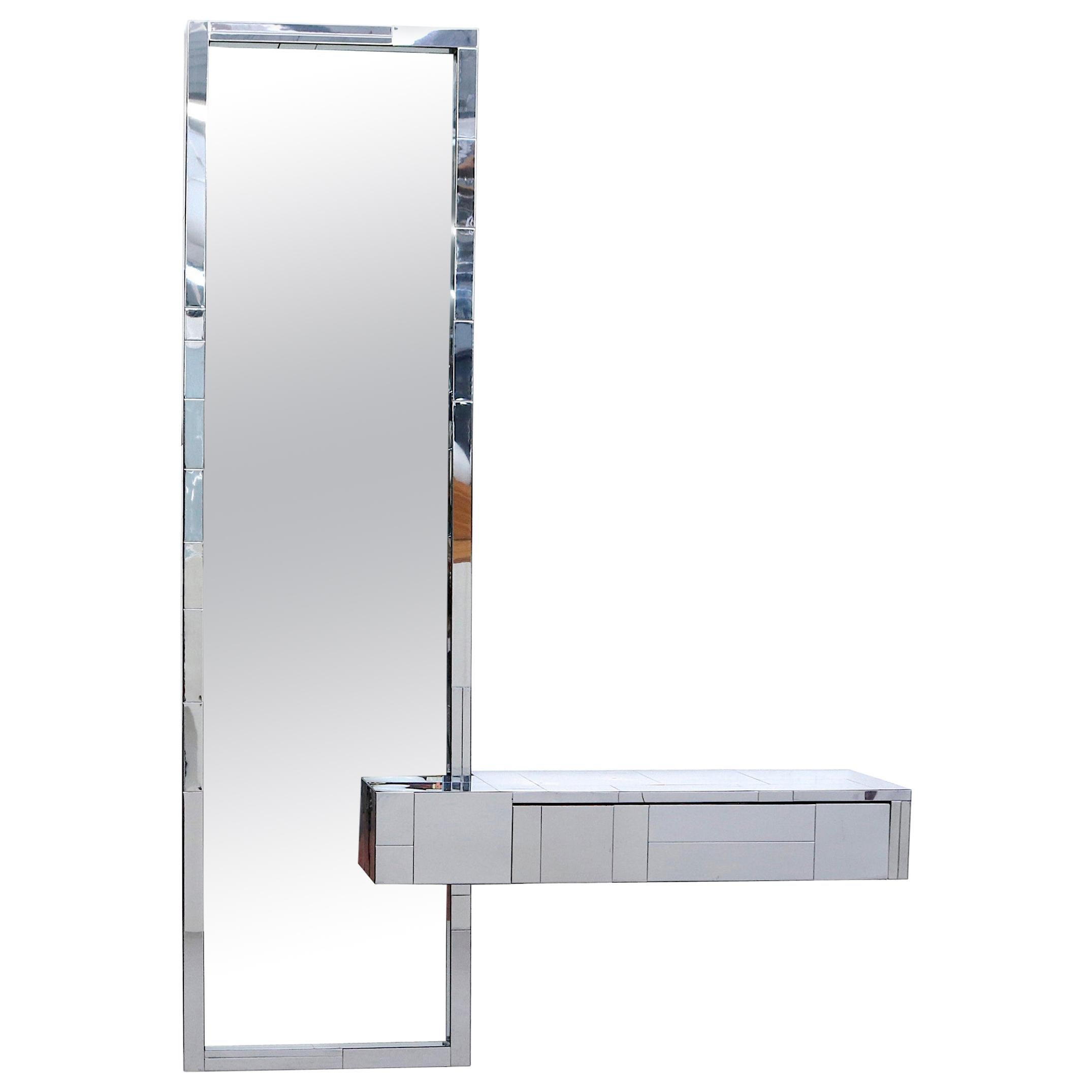 Paul Evans Cityscape Mirror with Floating Console for Directional