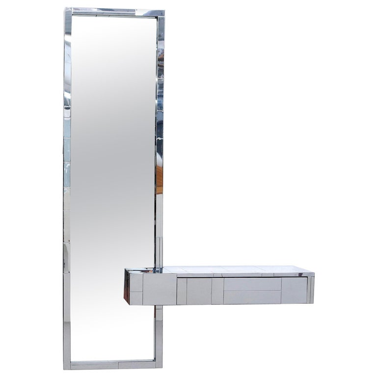 Paul Evans Cityscape Mirror with Floating Console for Directional For Sale