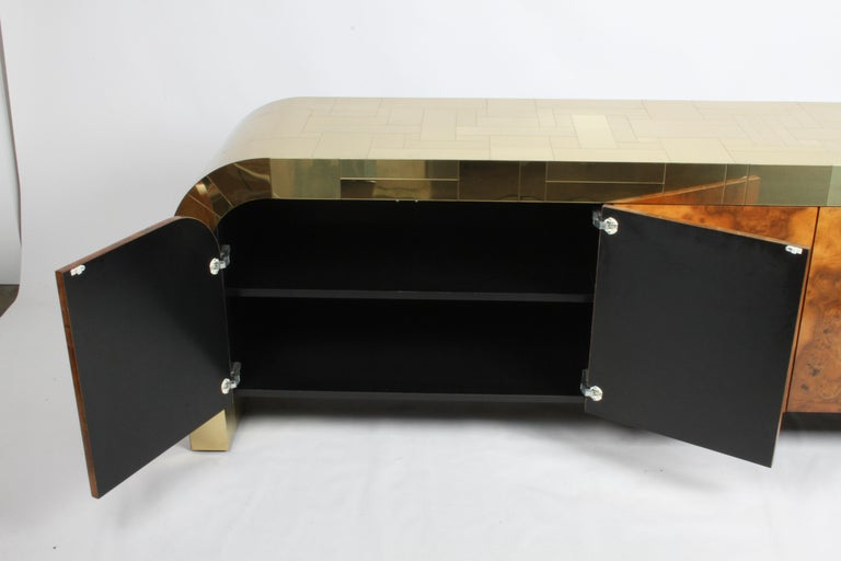 Paul Evans CityScape Sideboard for Directional Brass Tiles & Burl Wood Doors For Sale 4