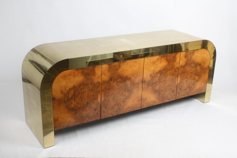 Paul Evans CityScape Sideboard for Directional Brass Tiles & Burl Wood Doors For Sale 8