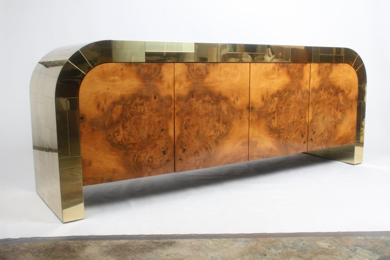 Paul Evans CityScape Sideboard for Directional Brass Tiles & Burl Wood Doors For Sale 10
