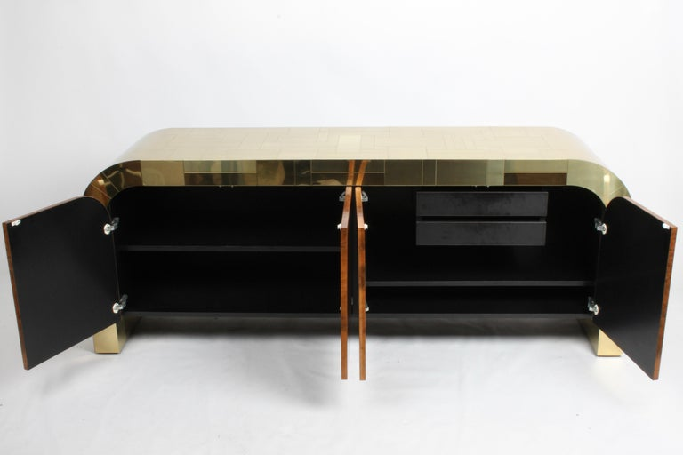 Paul Evans CityScape Sideboard for Directional Brass Tiles & Burl Wood Doors For Sale 14