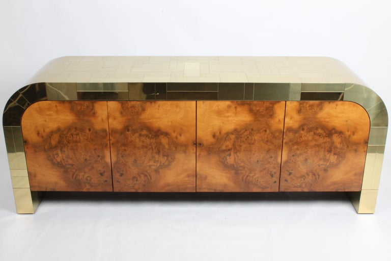 Mid-Century Modern Paul Evans CityScape Sideboard for Directional Brass Tiles & Burl Wood Doors For Sale