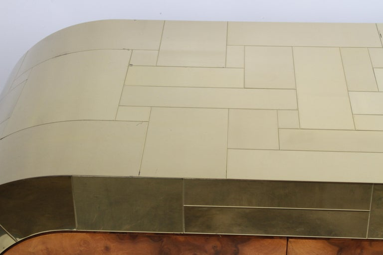 Paul Evans CityScape Sideboard for Directional Brass Tiles & Burl Wood Doors In Good Condition For Sale In St. Louis, MO