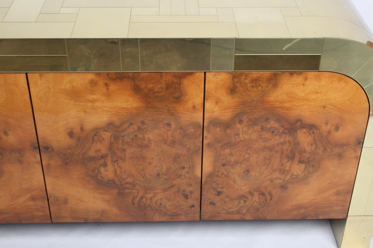 Paul Evans CityScape Sideboard for Directional Brass Tiles & Burl Wood Doors For Sale 2