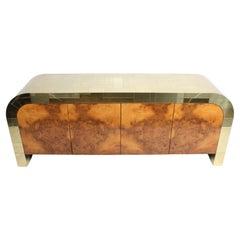 Paul Evans CityScape Sideboard for Directional Brass Tiles & Burl Wood Doors