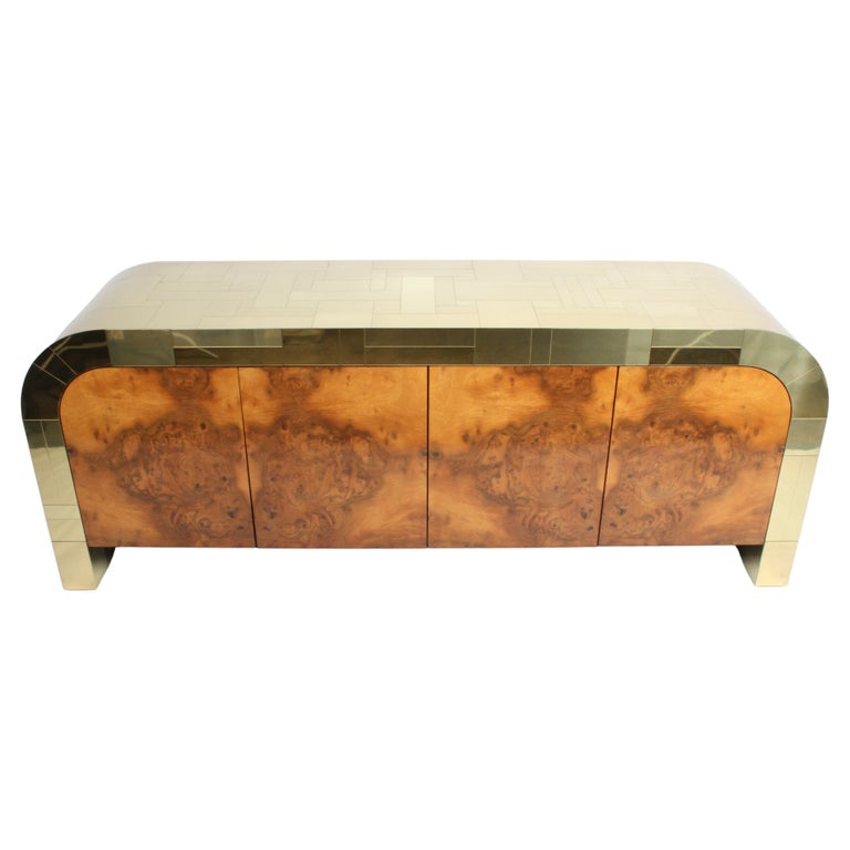 Paul Evans CityScape Sideboard for Directional Brass Tiles & Burl Wood Doors For Sale